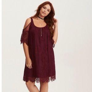 Burgundy Lace Trapeze Dress